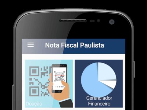 Celular com o aplicativo nota fiscal paulista em execução
