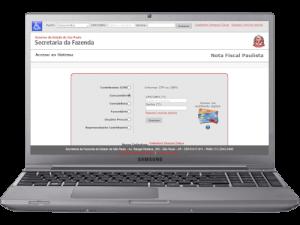 Notebook com o site do programa Nota Fiscal Paulista da Secretária da Fazenda
