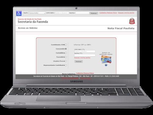 Notebook com o site do programa Nota Fiscal Paulista da Secretaria da Fazenda