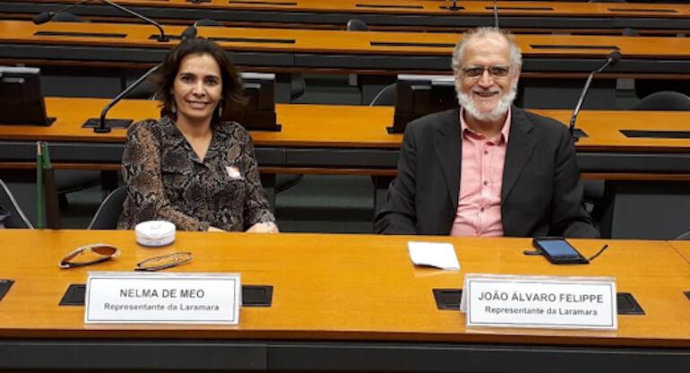 Nelma Meo e João Felippe, na comissão de esporte, da Câmara dos Deputados.
