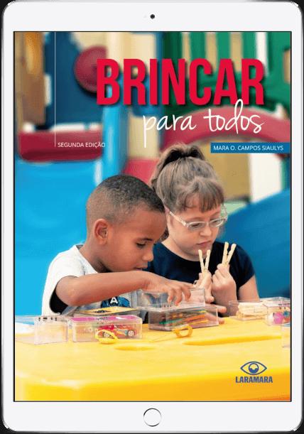 Um tablet mostrando a capa do livro brincar para todos