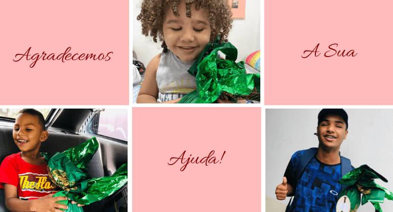 Montagem de fotos com crianças, segurando ovos de pascoa e os dizeres Agradecemos a sua ajuda!